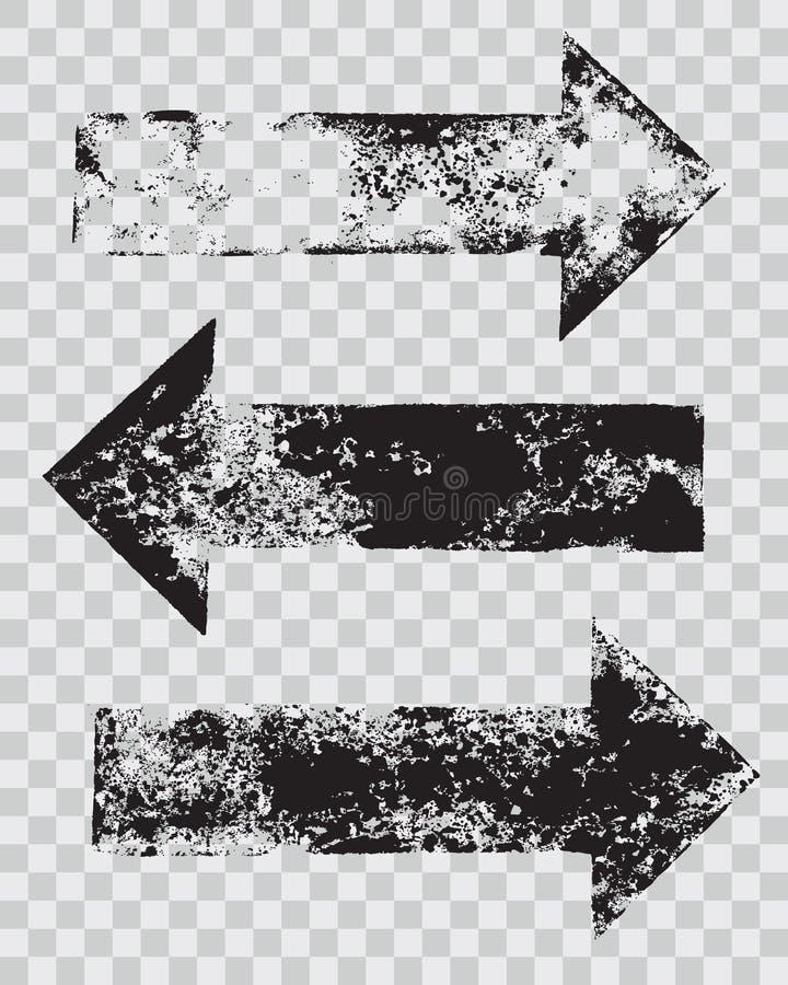 Grunge arrow stamps set. Vector illustration royalty free illustration