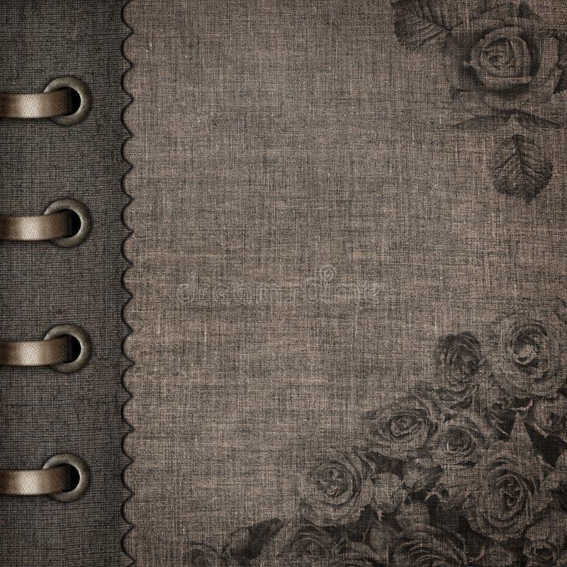 Grunge-Art-Weinlese-Gewebe-Album-Abdeckung stockbilder