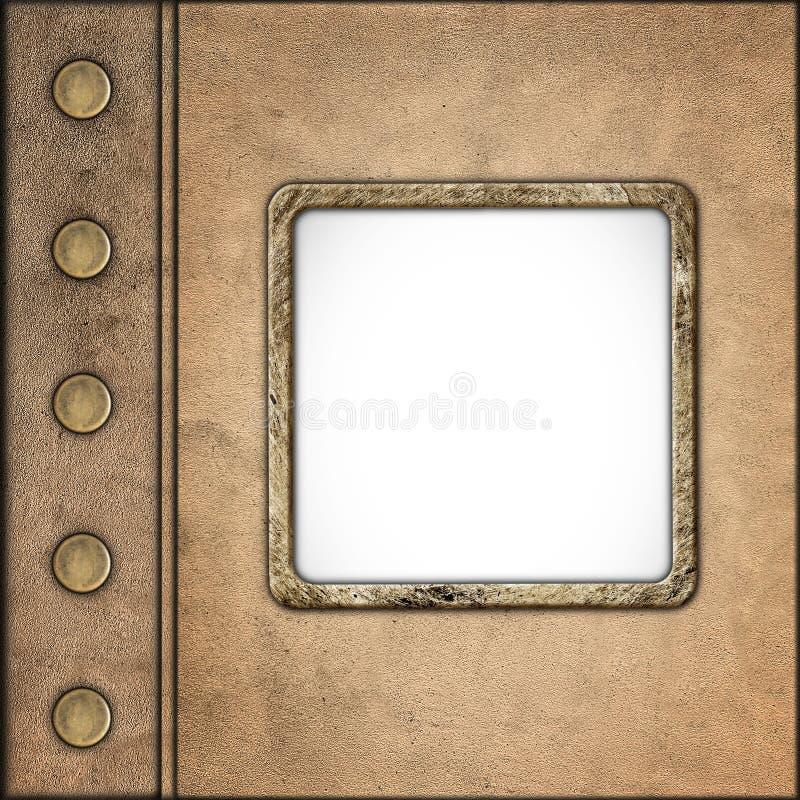 Grunge-Art-Weinlese-lederne Album-Abdeckung mit Foto-Feld lizenzfreie stockfotos