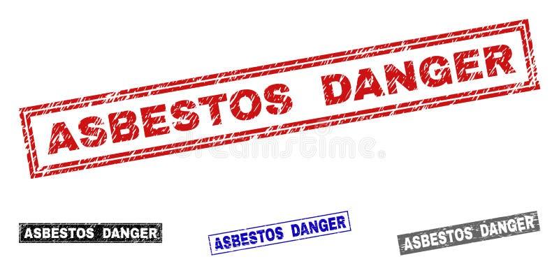 Grunge ASBESTOS DANGER Scratched Rectangle Stamps royalty free illustration