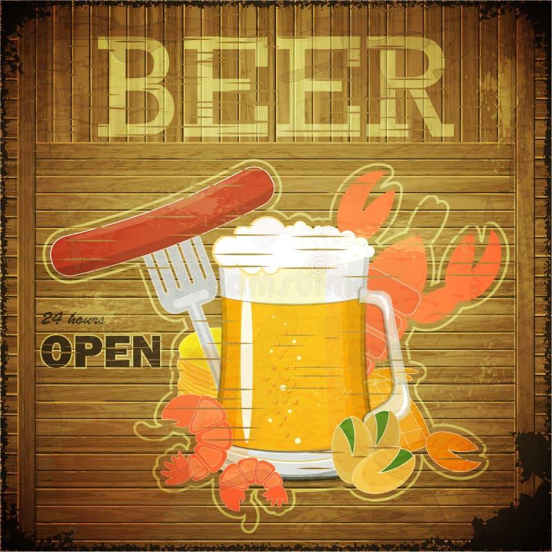 Grunge Auslegung-Bier-Menü stock abbildung