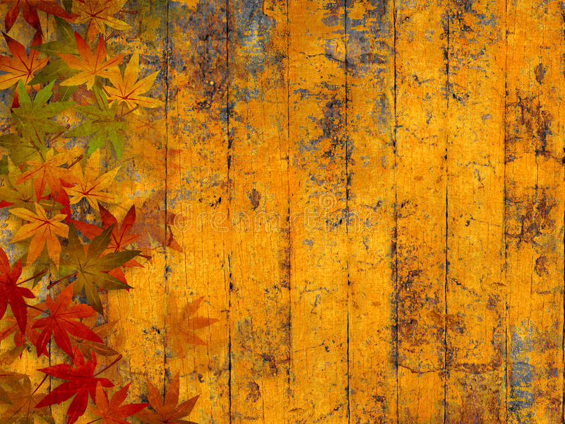 Grunge autumn background with fall leaves. Fall leaves border against yellow wooden planks - grunge style stock illustration