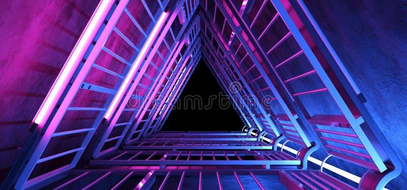Grunge azul cor-de-rosa roxo de incandescência de néon do túnel do corredor da estrutura do metal do triângulo olá! da tecnologia ilustração royalty free