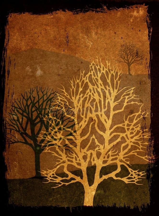 Grunge Bäume - Sepia lizenzfreie abbildung