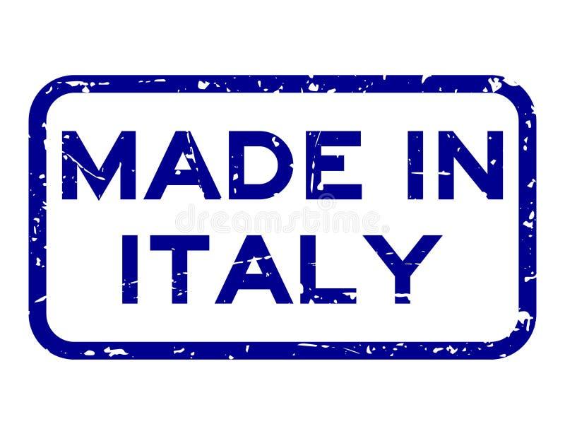 Grunge błękit robić w Italy kwadrata foki gumowym znaczku na białym tle ilustracji
