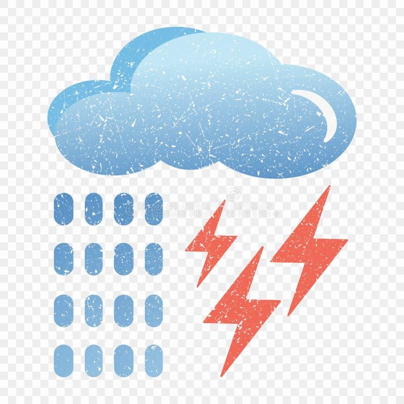 Grunge błękita chmury ikona z błyskawicą i deszczem Kreskówki ilustracja błękit chmura z błyskawicy i deszczu wektorową ikoną dla ilustracja wektor