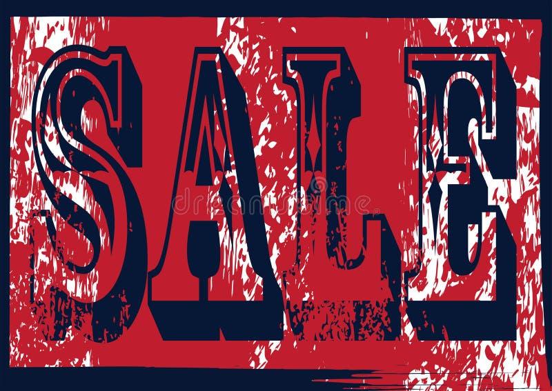 Grunge błękita i czerwieni sprzedaży znaczek fotografia stock