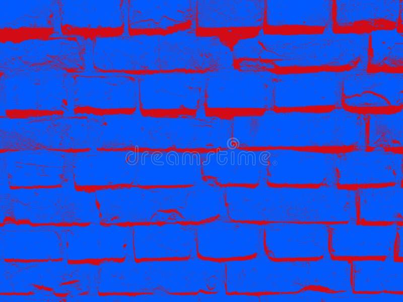 Grunge błękitnej czerwieni blokowej mansory nawierzchniowej miastowej budowy ściana z cegieł starzejący się dekoracyjny tło dla s fotografia royalty free