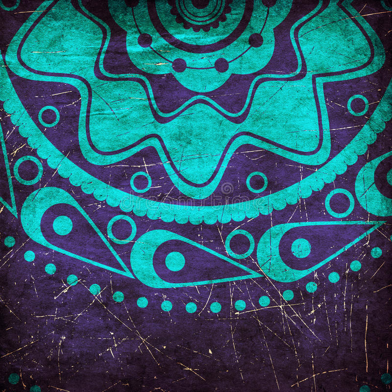 Grunge błękitny ornament ilustracja wektor
