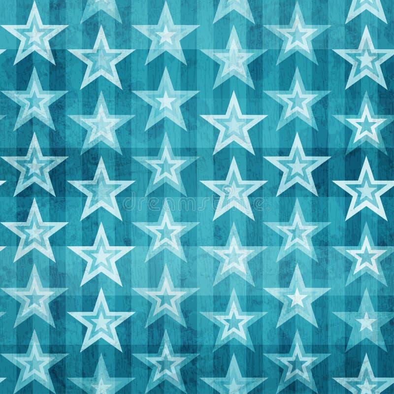 Grunge błękitnych gwiazd bezszwowy wzór royalty ilustracja