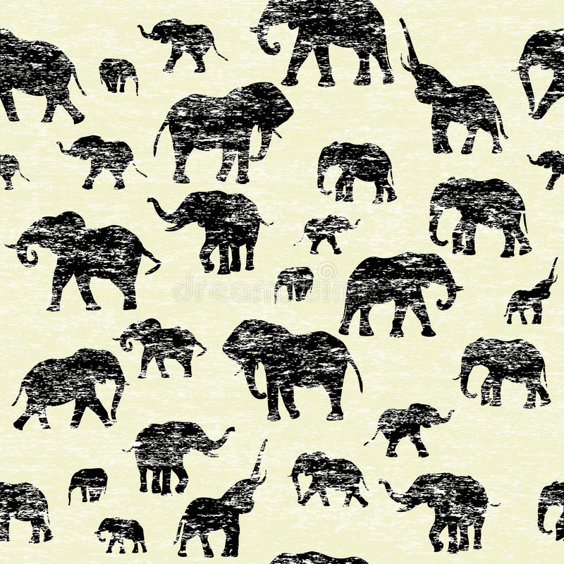 Grunge backgorund with elephants silhouettes royalty free illustration