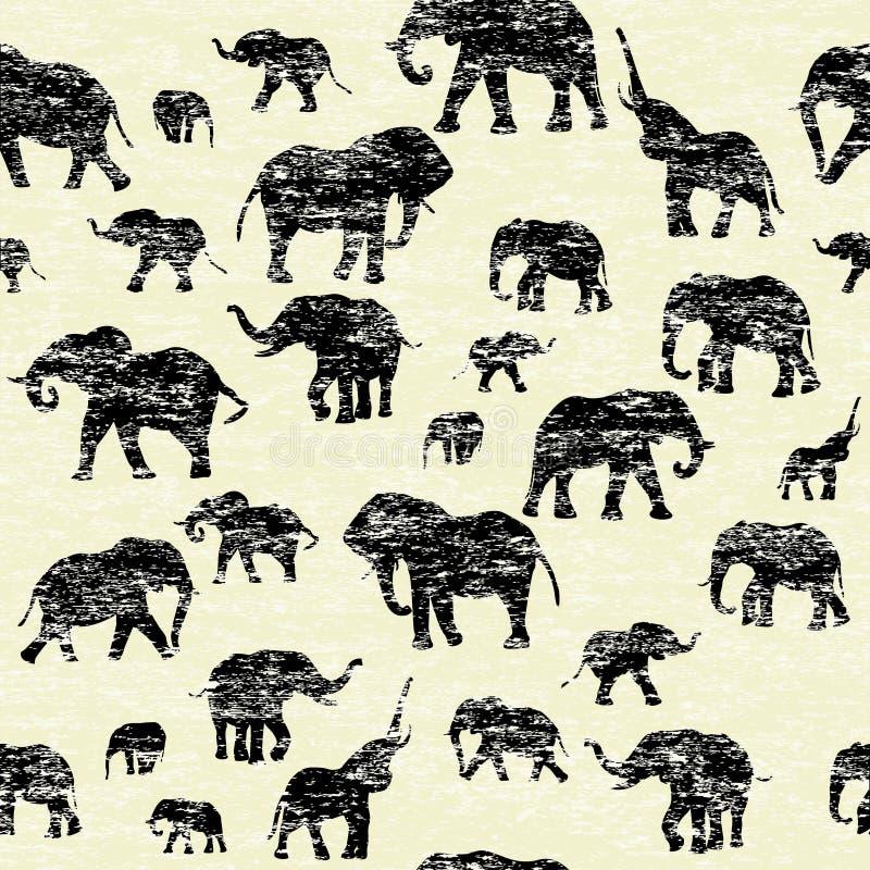 Grunge backgorund met olifantensilhouetten royalty-vrije illustratie