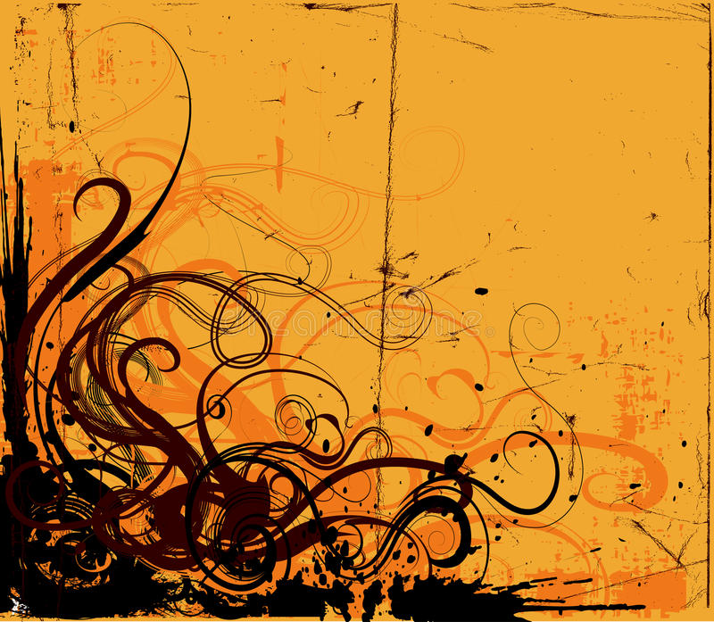 Grunge Background. With floral design corner stock illustration