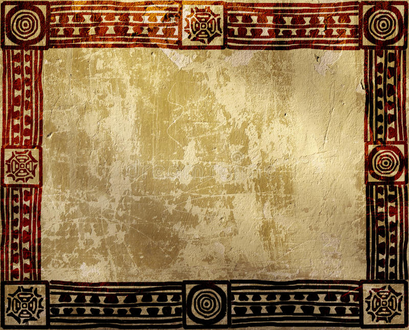 Grunge background with American Indian ethnic patterns stock photography