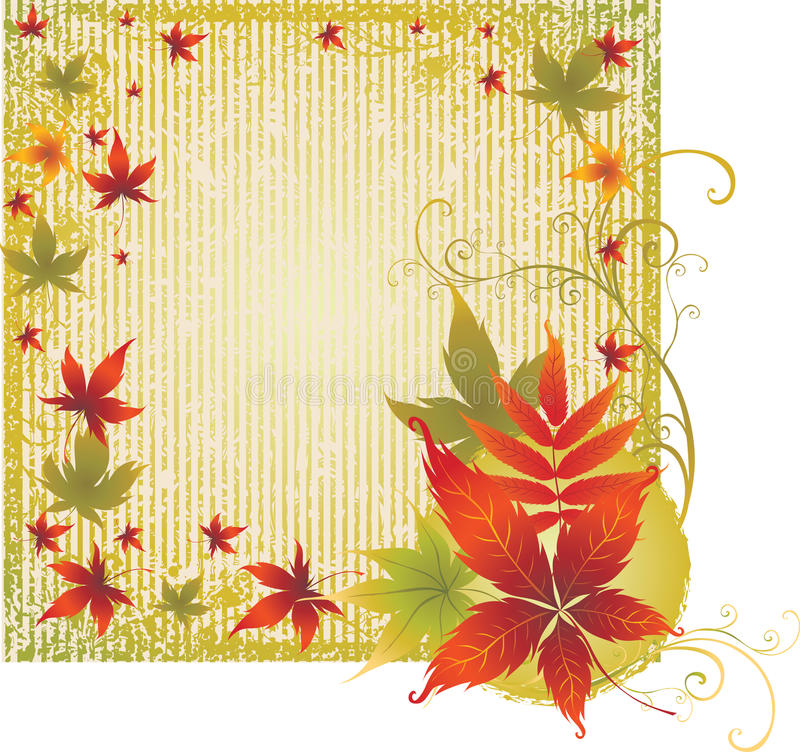 Download Grunge Background With Autumn Leafs. Thanksgiving Stock Vector - Illustration of element, pattern: 11405254