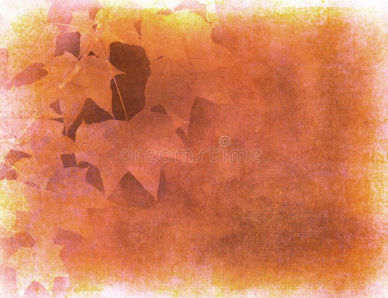Grunge background with autumn leaves stock illustration