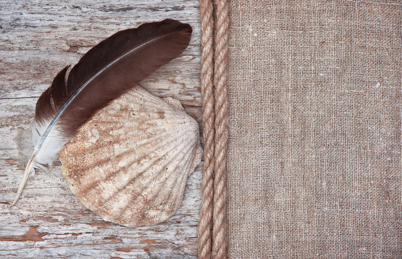 Grunge background with big seashell, rope and feather on sackcloth royalty free stock image