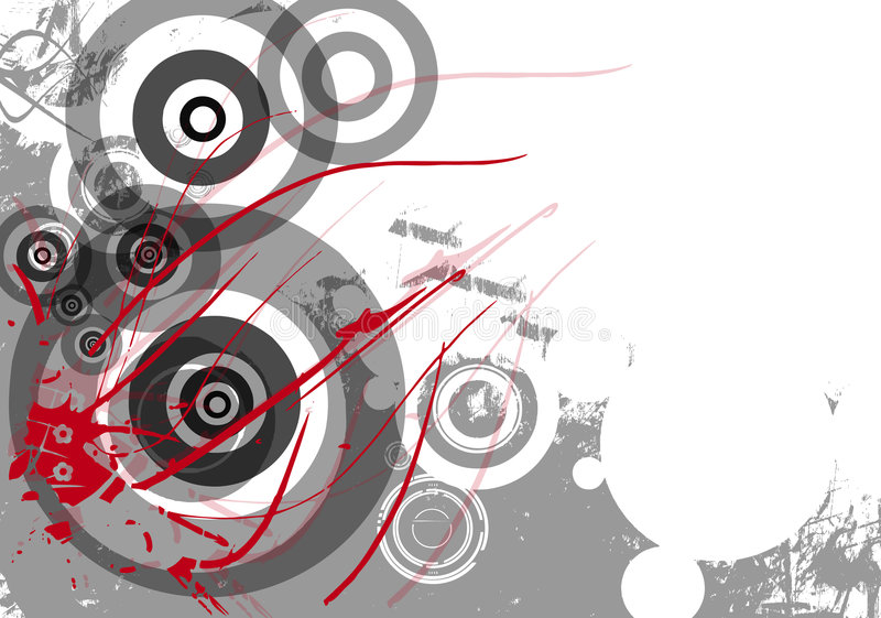 Grunge background with circles. A view of an artistic, abstract background with a grayish grunge mood that includes various size circles and several streaking royalty free illustration