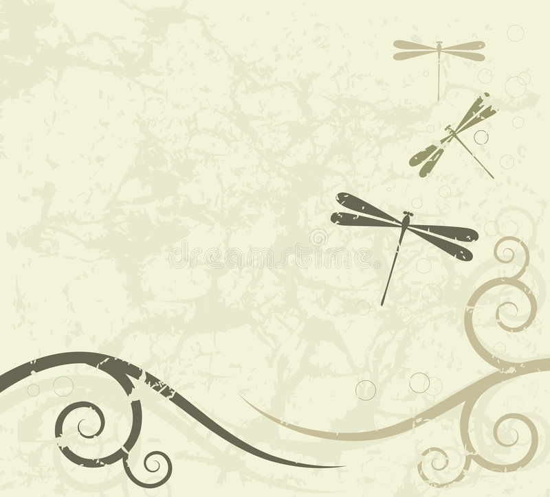 Download Grunge Background With Dragonflies Stock Vector - Image: 8223948