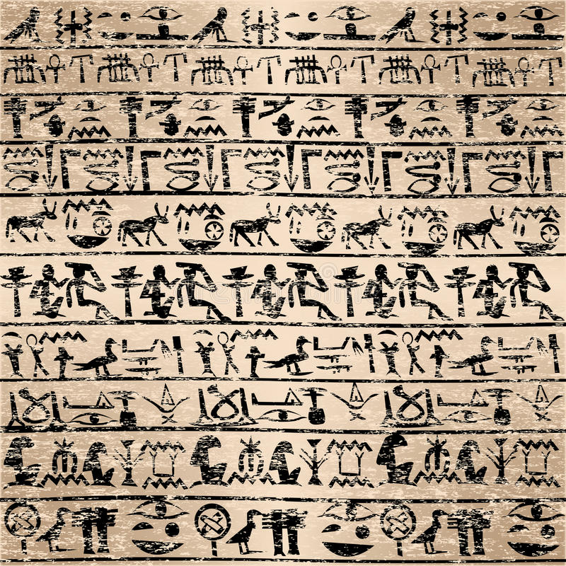 Grunge background with Egyptian hieroglyphs stock illustration
