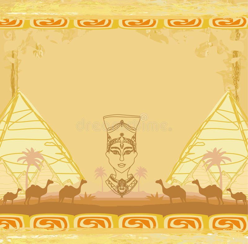 Grunge background with Egyptian queen vector illustration