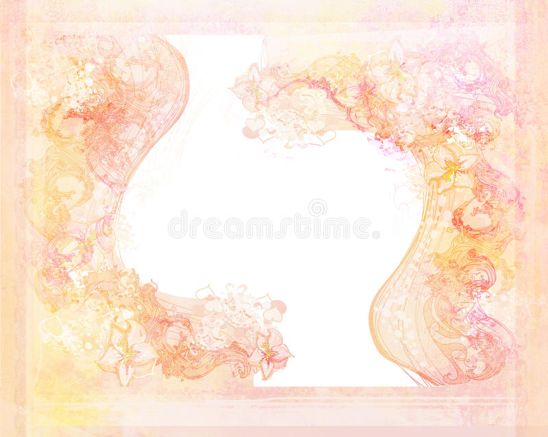 grunge background with floral ornaments royalty free illustration