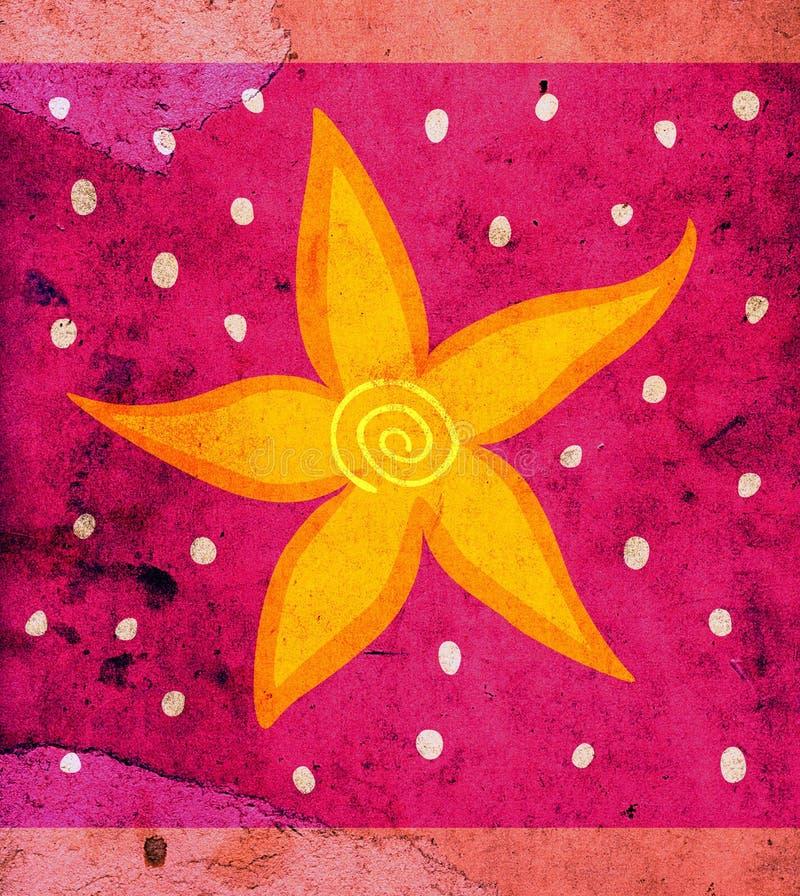 Grunge background with flower stock illustration