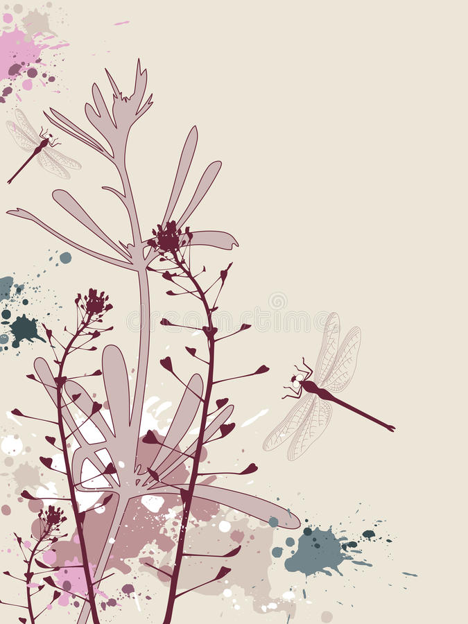 Download Grunge Background With Flowers And Dragonfly Stock Vector - Illustration: 14191413