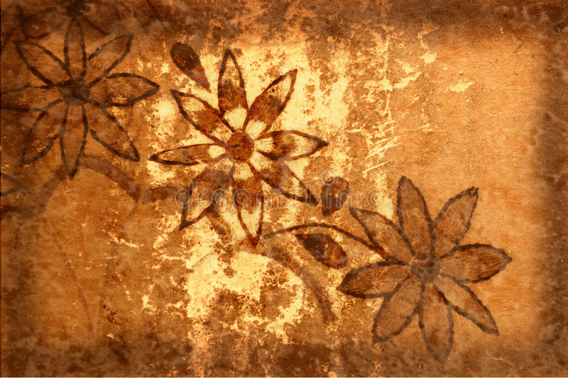 Download Grunge Background With Flowers And Scratches Stock Illustration - Image: 3666937