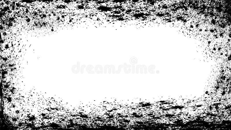 Grunge background frame, border overlay texture. Black wallpeper, rough edges stock illustration