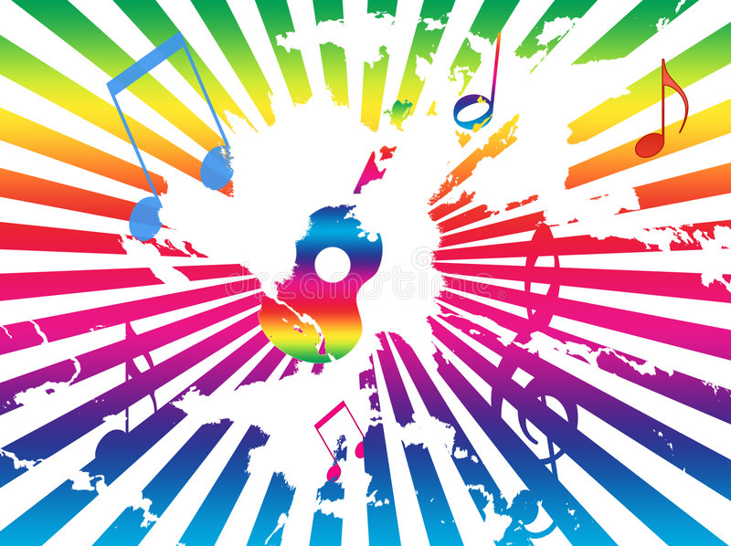 Rainbow Notes On Light Background Stock: Grunge Background With Guitar, Notes, Rainbow Rays Stock