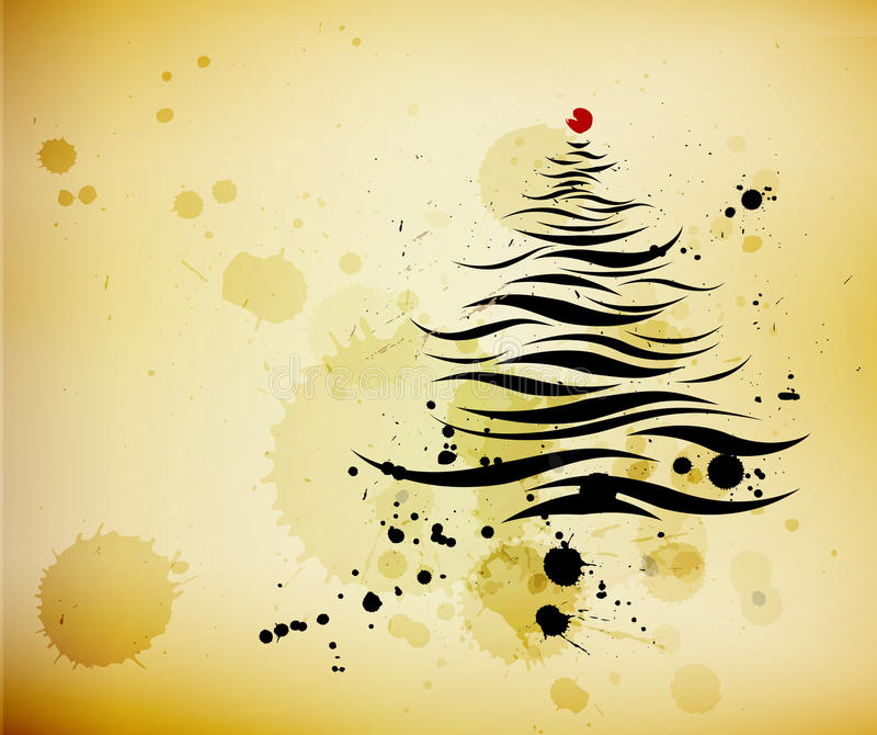 Grunge background and ink brushed christmas tree royalty free illustration