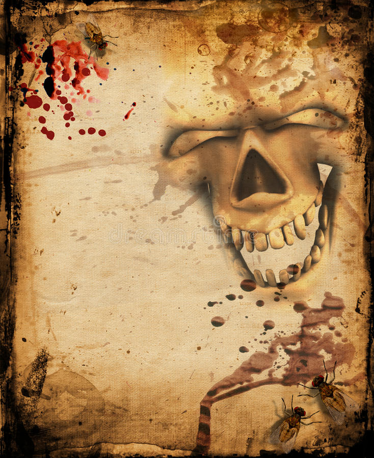 Grunge background with insects and skull stock illustration