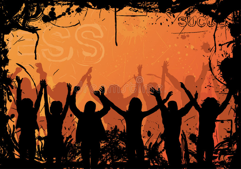 Download Grunge Background With Jumping Silhouettes, Vector Stock Images - Image: 1567164