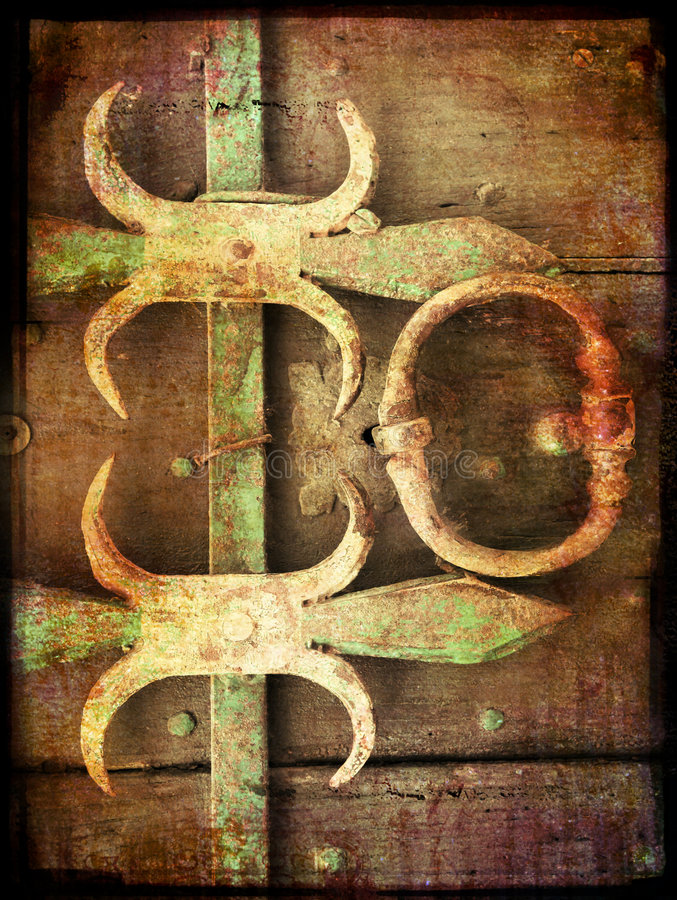 Grunge background with metal elements stock illustration
