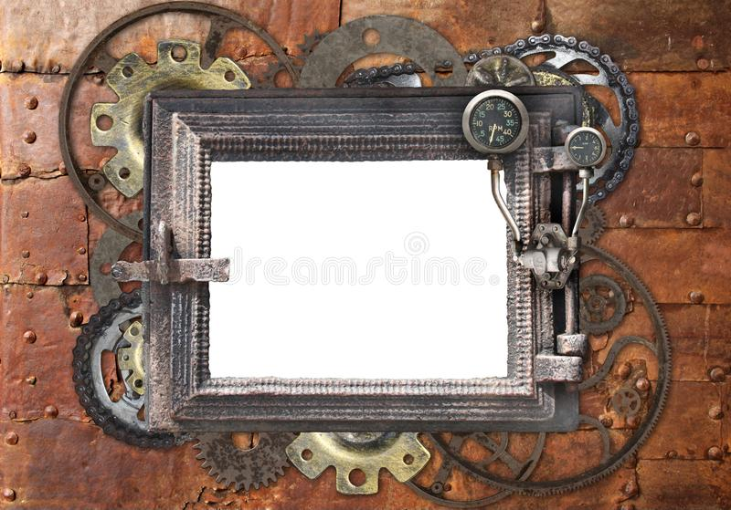 Grunge background with metallic frame. With vintage machine gears and cogwheel. Mock up template. Can be used for steampunk and mechanical design stock photos