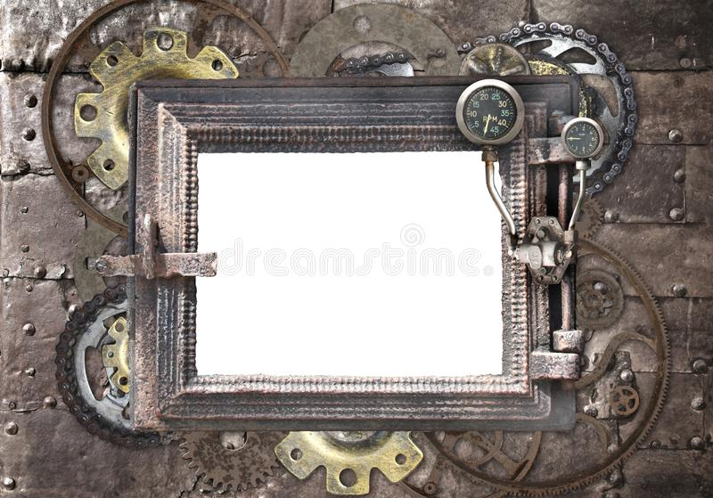 Grunge background with metallic frame. With vintage machine gears and cogwheel. Mock up template. Can be used for steampunk and mechanical design royalty free stock images