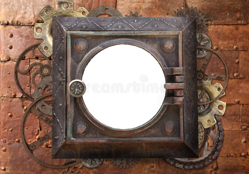 Grunge background with metallic frame. With vintage machine gears and cogwheel. Mock up template. Can be used for steampunk and mechanical design royalty free stock image