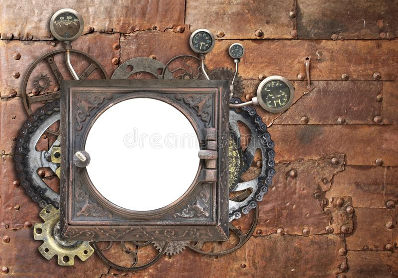 Grunge background with metallic frame and vintage machine gears. Grunge background with metallic frame with vintage machine gears and cogwheel. Mock up template stock image