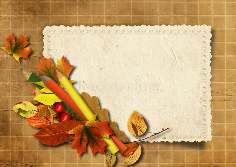 Download Grunge Background With Old Cards And Pencils Stock Illustration - Illustration: 26976070