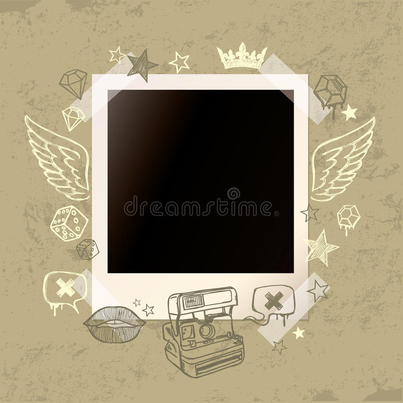 Download Grunge Background With Old Instant Photo And Hand- Stock Vector - Illustration: 21949521