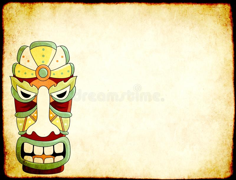 Grunge background with old paper texture and tiki tribal mask. Grunge horizontal background with old soiled paper texture and tiki tribal mask. Copy space for royalty free stock photography