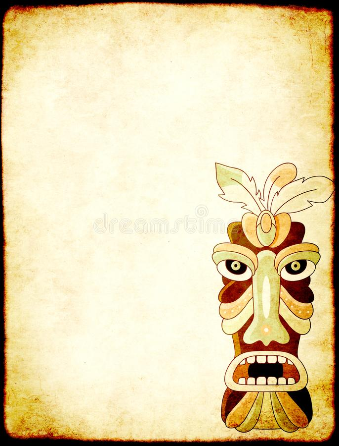 Grunge background with old paper texture and tiki tribal mask. Grunge vertical background with old soiled paper texture and tiki tribal mask. Copy space for text stock photography