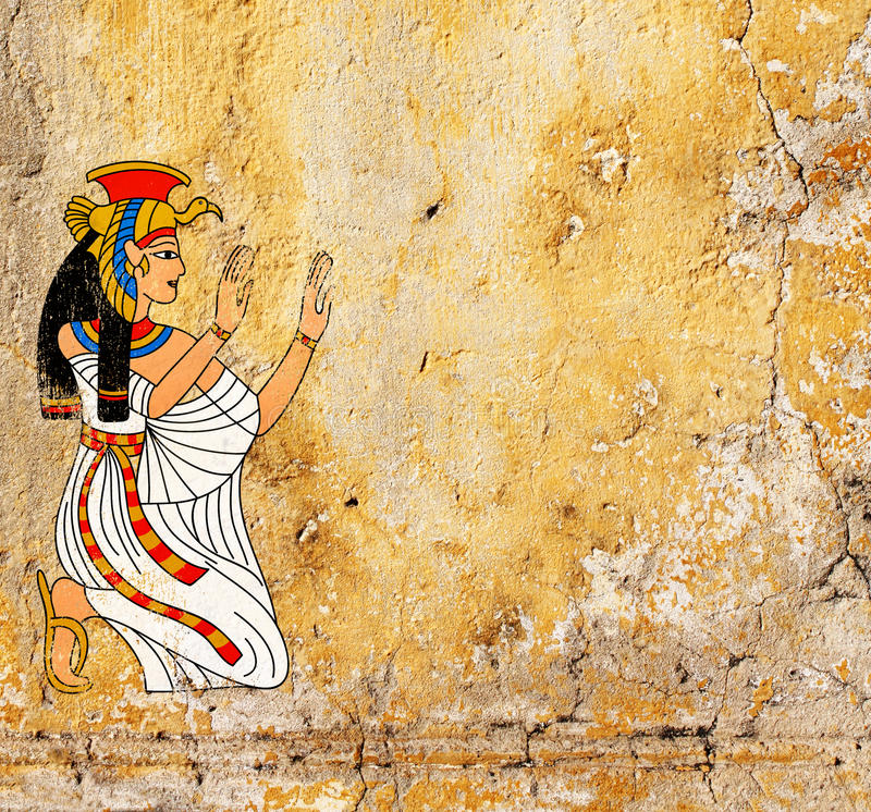Grunge background with old stucco texture and Egyptian goddess I. Grunge background with old stucco texture of yellow color and Egyptian goddess Isis image royalty free illustration