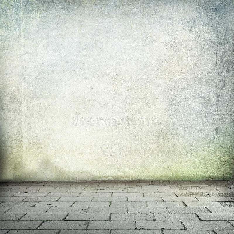 Grunge background old wall texture and sidewalk room interior without ceiling vector illustration