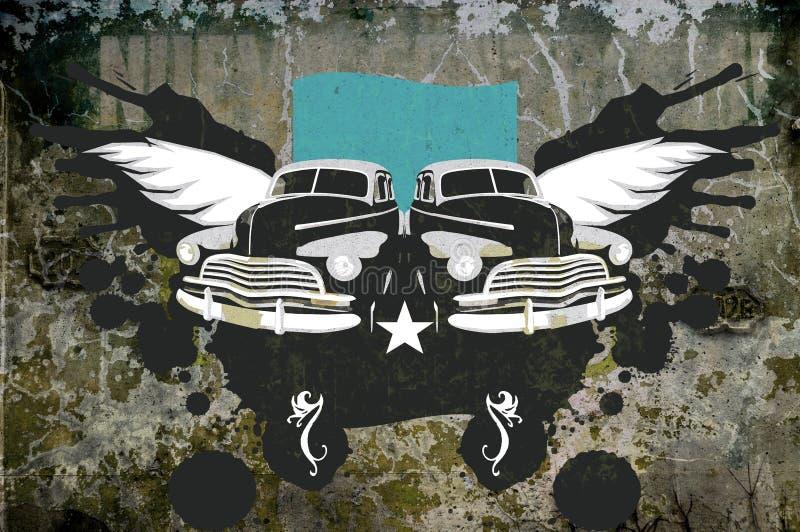Grunge background with oldtimer royalty free illustration
