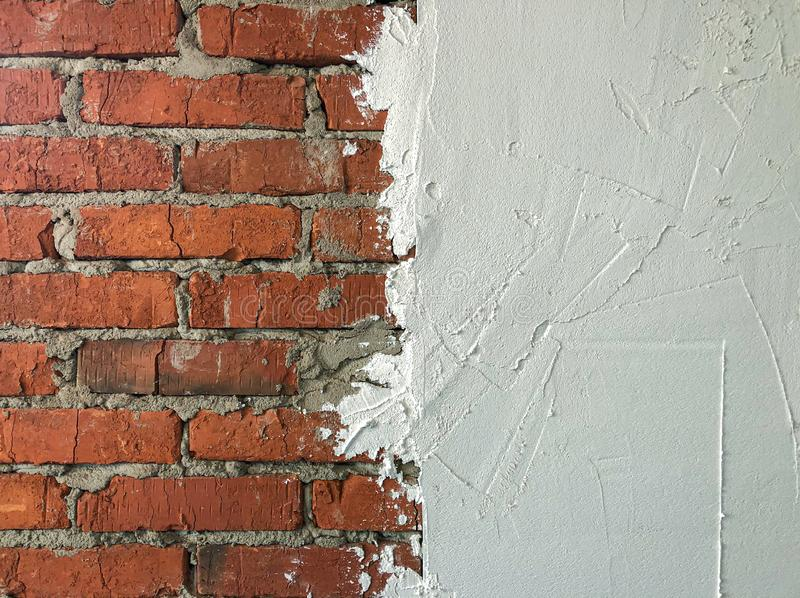 The transition from brick to putty. royalty free stock image