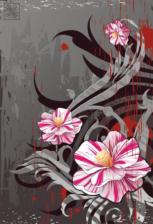 Grunge background with realistic flowers vector illustration