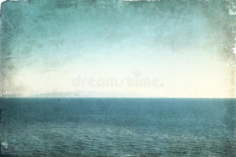 Grunge background with sea and sky view stock photos
