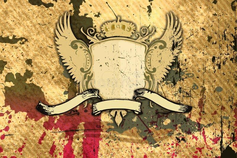 Grunge background with shield stock illustration